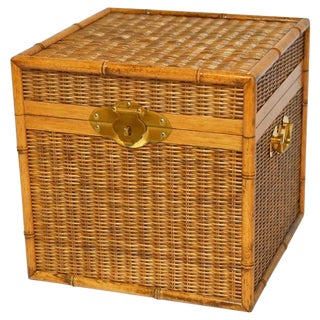 Campaign Faux Bamboo & Wicker Box