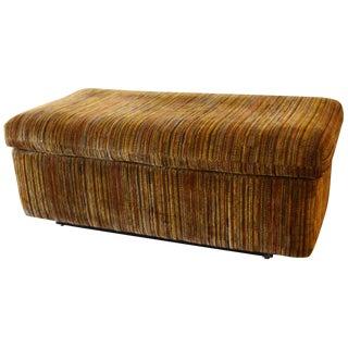 Mid-Century Modern Brown Velvet Upholstered Bench