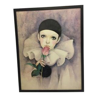 Decorative Clown & Rose Print