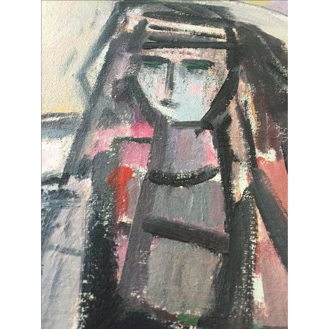 Vintage Modernist Cubist Acrylic Painting - Image 6 of 8