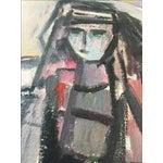 Image of Vintage Modernist Cubist Acrylic Painting