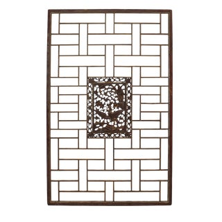 Chinese Distressed Vintage Brown Golden Phoenix Rectangular Panel Screen
