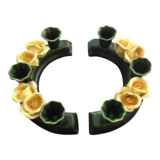 Majolica Rose Semi Circle Candle Holders - Pair