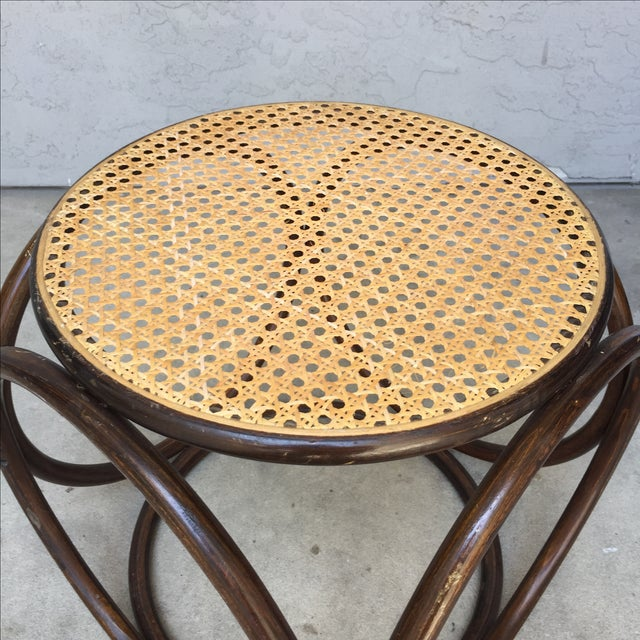 MCM Thonet Bentwood & Cane Ottoman or Side Table - Image 8 of 10