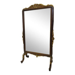 19th Century French Carved Walnut Beveled Cheval Mirror