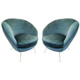Pair of Round Italian Mid-Century Armchairs