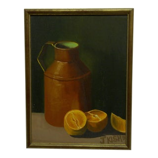 "J. Kish ""The Oranges and the Pot"" Original Framed Painting on Board"
