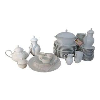"""Romantica Kairom"" White Ribbed Scalloped Dishware - Set of 96"