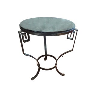 French Steel Gueridon With Marble Top
