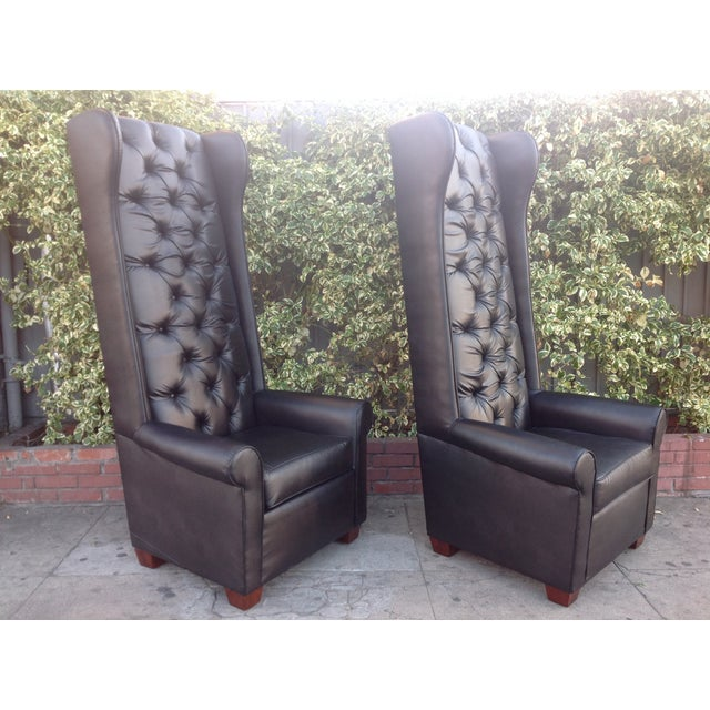 Black Tall Tufted Chairs - A Pair - Image 3 of 6