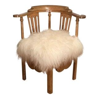 Antique 18th Century Corner Chair w Icelandic Sheep Fur Seat
