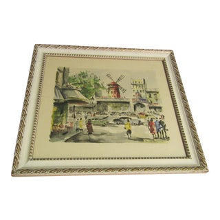 "Paris, France ""Moulin Rouge"" Mid-Century Watercolor Painting"