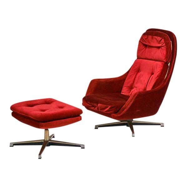 Overman Swivel Lounge Chair & Ottoman, Scandinavian Modern, Circa 1970 - Image 1 of 3
