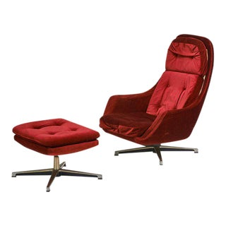 Overman Swivel Lounge Chair & Ottoman, Scandinavian Modern, Circa 1970