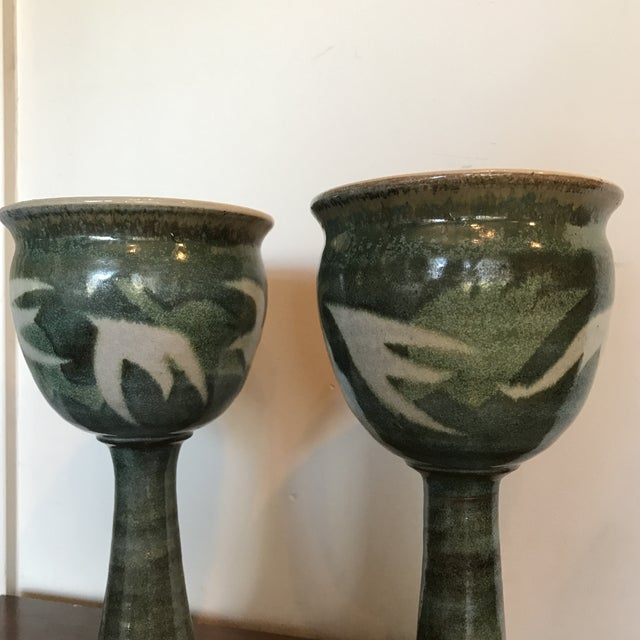 Blue & Green Ceramic Goblets - A Pair - Image 6 of 9