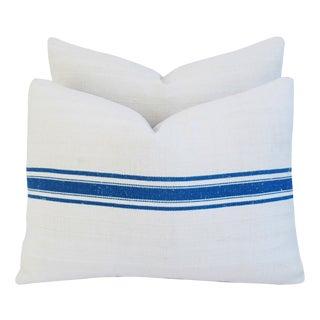 Custom French Grain Sack & Velvet Pillows - Pair
