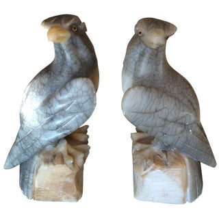 Carved Alabaster Eagle Bookends - A Pair
