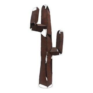Brutalist Art Torch Cut Metal Cactus Floor Sculpture