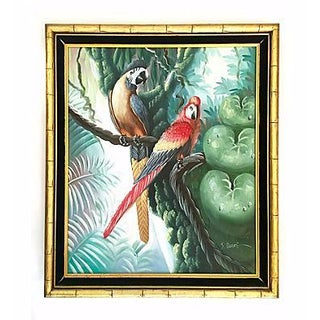 Mid-Century Original Macaw Oil Painting by S. Blake