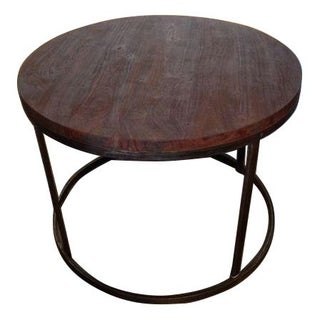 Round Acacia Wood Side Table