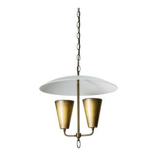 Mid-Century Lightolier Style Brass Pendant