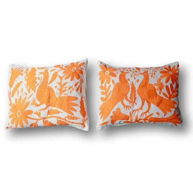 Orange Tenango Pillows - A Pair - Image 2 of 5