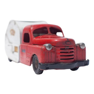 Red & White 1940's Vintage Toy Truck Facing Front Right Photograph