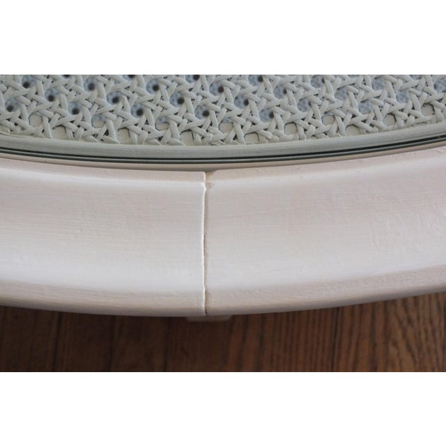 Mid-Century Round White Caned Coffee Table - Image 7 of 11
