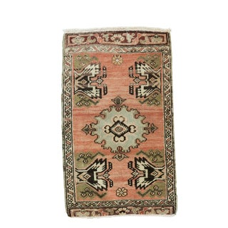 "Vintage Turkish Oushak Mat - 1'9"" x 2'10"""