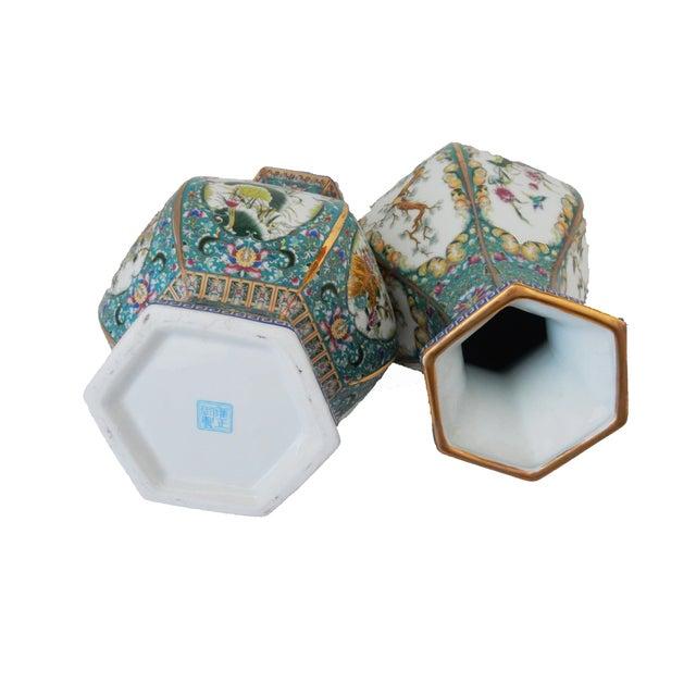 Famille Blue Floral Porcelain Vases - A Pair - Image 6 of 7