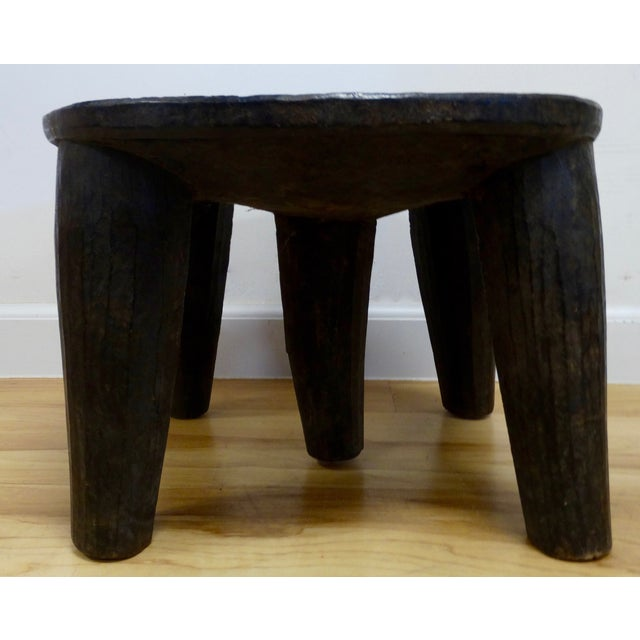 Image of Wooden Hand-Carved African Stool