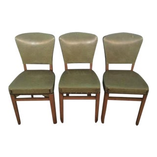 Mid-Century Green Vinyl Side Chairs - Set of 3