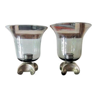 Glass Hurricane Lamp Candle Holder - A Pair
