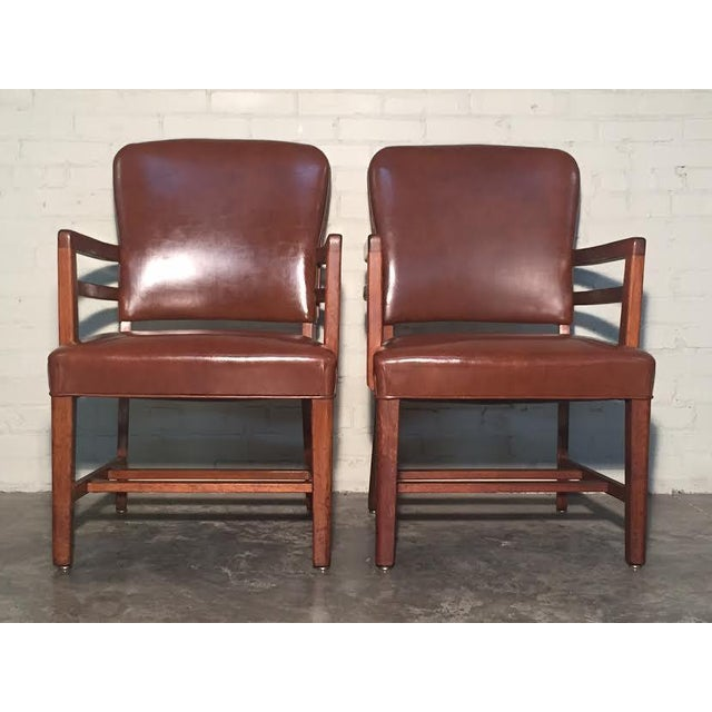 Mid-Century Office Chairs W/Nailhead Back - A Pair - Image 4 of 10