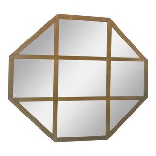 Mid Century Italian Brass Octagonal Mirror