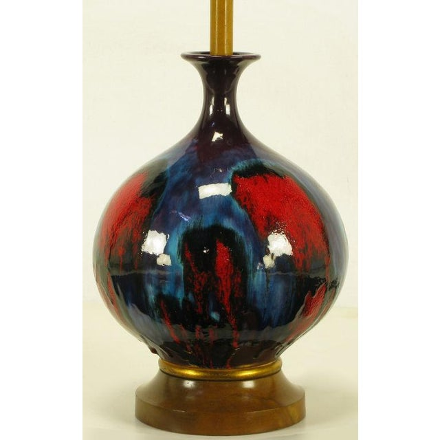 Image of Large Blue, Black & Red Gourd Form Table Lamp