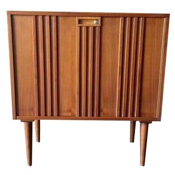 Image of Mid-Century Refinished Walnut Bar Cabinet