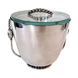 Silver Ice Bucket with Mercury Glass Liner