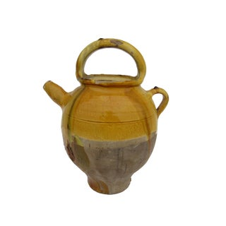 Antique French Provencal Yellow Terracotta Jug