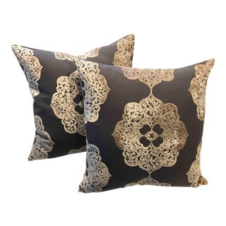 Wheat and Latte Moroccan Velvet Pillows - a Pair