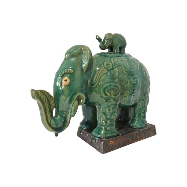 1960s Thai Drip Glaze Ceramic Elephant Chairish