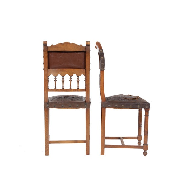 Image of 1890s French Leather Brittany Chairs - Set of 6
