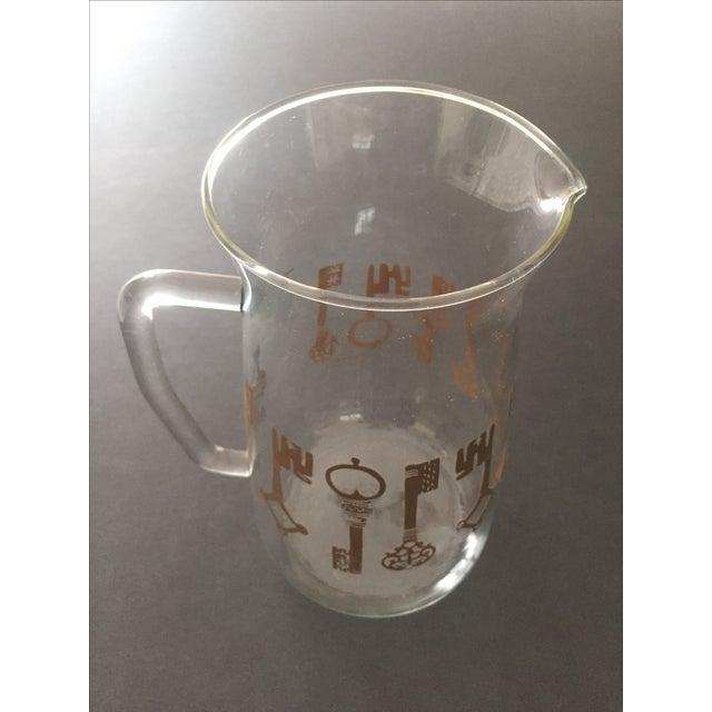 Vintage Pyrex Glass Gold Key Beverage Pitcher - Image 10 of 10