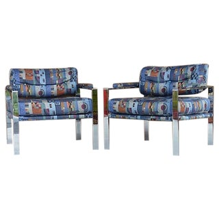 Milo Baughman Style Chrome Club Chairs - A Pair
