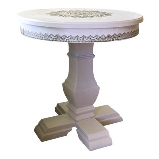 White Medallion Motif Accent Table