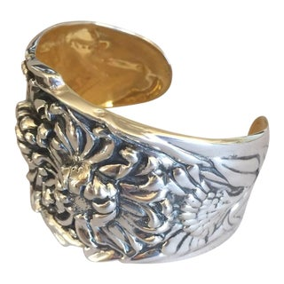 Galmer Sterling Silver Repousse Chrysanthemum Cuff Bracelet