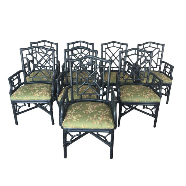 McGuire Chinese Chippendale Chairs - Set of 8 - Image 1 of 4
