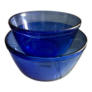 Vintage Anchor Hocking Cobalt Blue Mixing Bowls