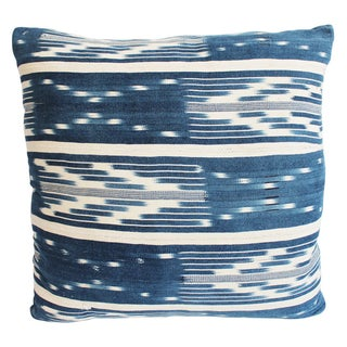 Tribal Denim Ikat Pillow