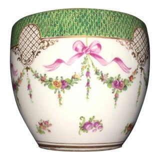 Dresden Cachepots Ribbon and Floral - A Pair